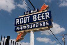 Root beer and hamburger sign